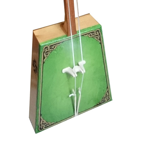 The body of the green morin khuur (horse head fiddle)