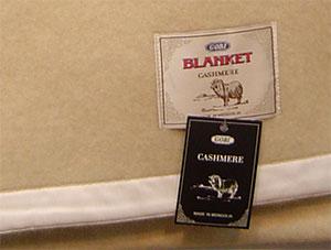 cashmere blanket, label, white color