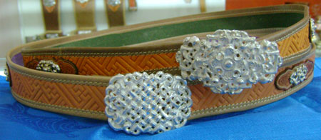 Silver & leather belt-women