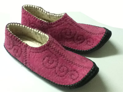 felt slippers Ankle curved pink