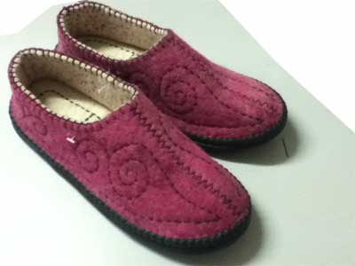 felt slippers Ankle Pink