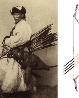 Mongol bow and arrow (natural material, horse carving)