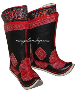 Mongolian boots (black & red)