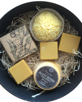 sisters gift box. olive& beeswax soap, sea buckthorn juice soap